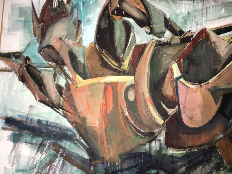 Modernist Fallen Warrior Abstract Expressionist Woman Artist Watercolor Painting For Sale 2