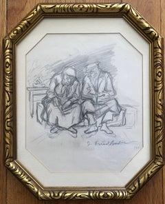 RARE WPA ARTIST ISAAC FRIEDLANDER Judaica Drawing 1946