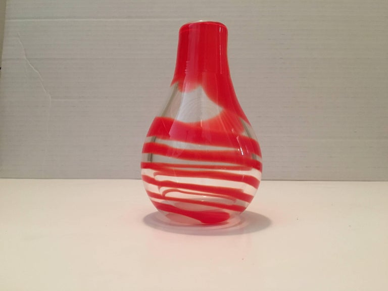 Unknown Small Bud Vase Blown Murano Swirl Glass Vase For Sale At