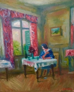 Woman in Salon French Interior Oil Painting Ecole D'Paris, WPA, Bezalel Artist