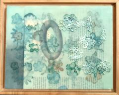 Text with Diagram, Encaustic and Digital Print on Plywood