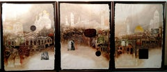 Jerusalem City of Gold, Intaglio Mixed Media Triptych