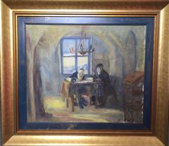 Scribe and Scholar, Judaic Oil on Canvas
