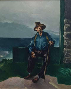Portrait of an Old Man with Cane, Important Chicago Modernist WPA Artist