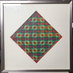 Banya, 1964 Vintage Abstract Op Art Screen Print Serigraph