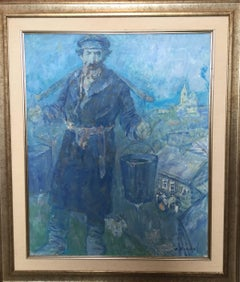 Shtetl Water Carrier, Judaica Oil Painting