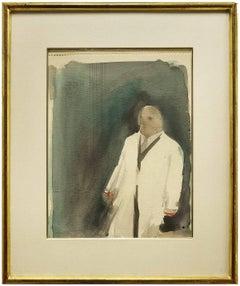 Man in Raincoat, Vintage Modern Watercolor Painting