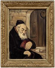 A Nap Before Entering the Synagogue Judaica Oil Painting Jewish Hasidic Rabbi