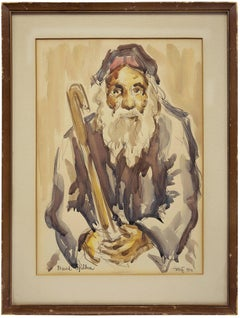 Old Rabbi Holding a Cane