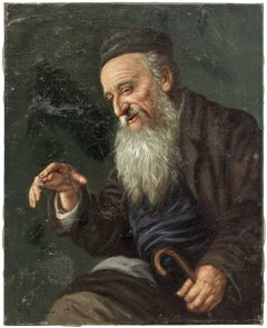 Untitled, Rabbi Smiling, Judaic Oil Painting, Early 20th Century