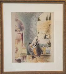 Jerusalem, Old city, Western Wall, 1970 Judaica Watercolor Painting Israeli Art
