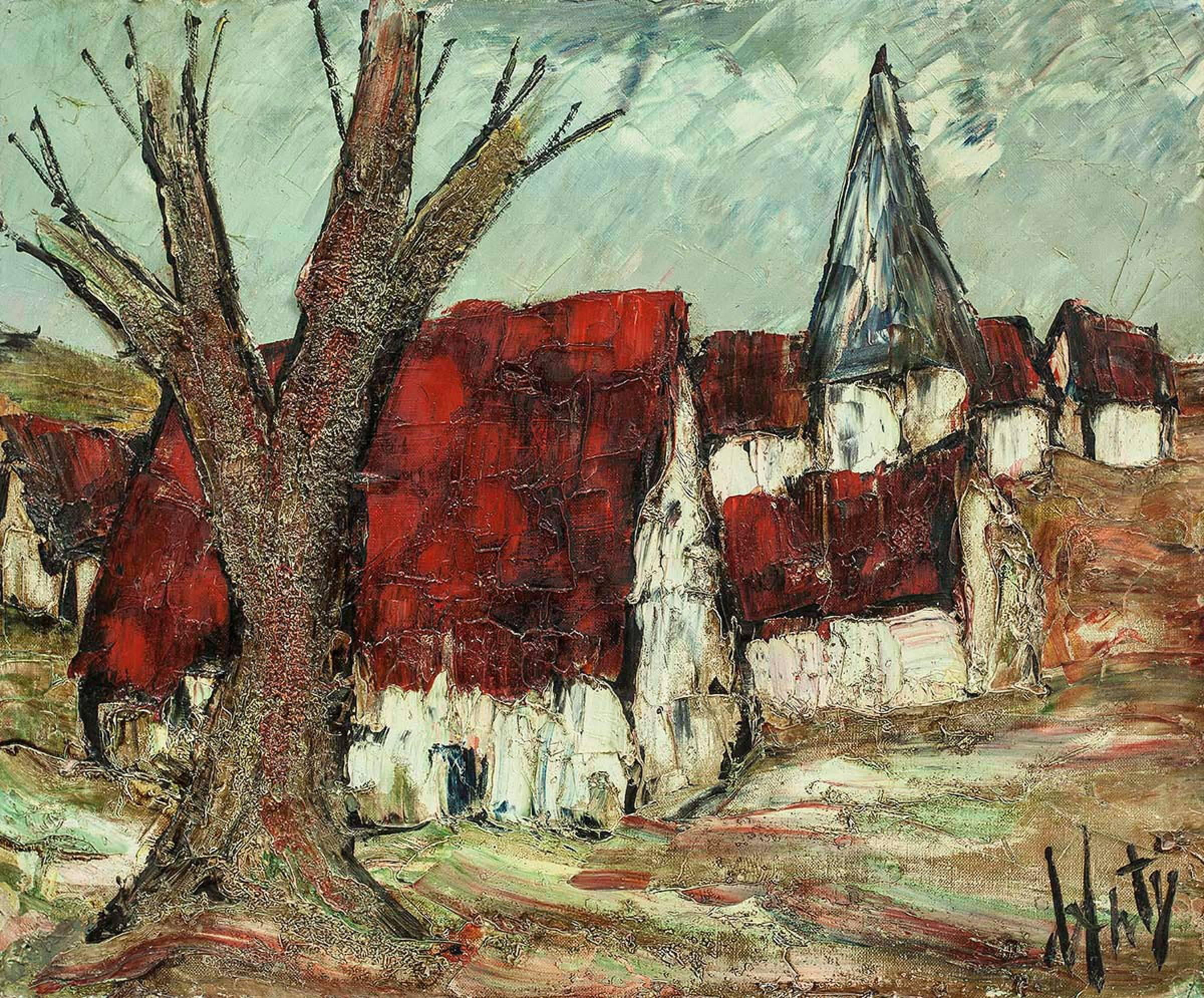 French Modernist Mid Century Abstract Village Landscape Oil Painting
