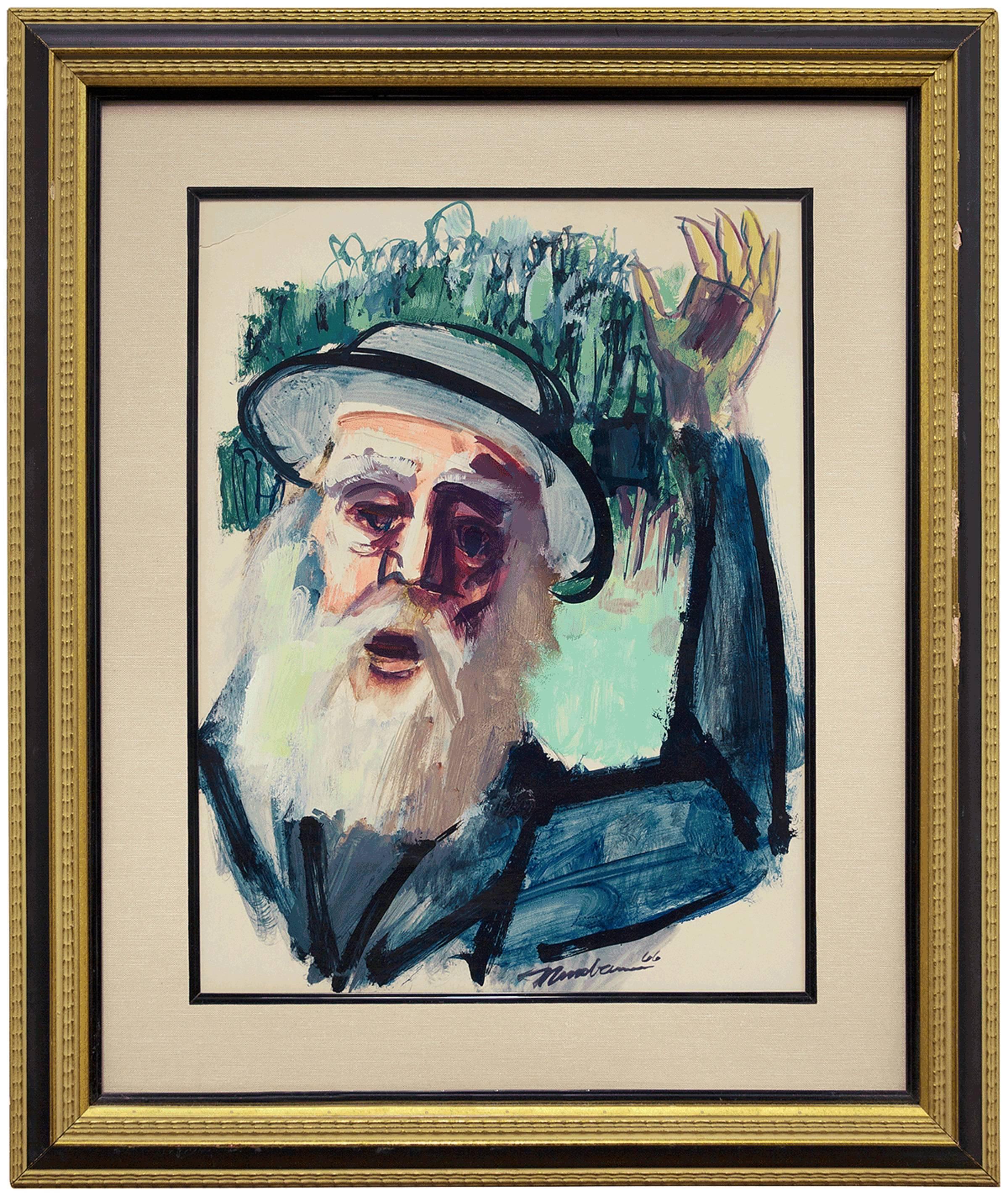 Chassidic Rabbi, Judaica Expressionist Painting