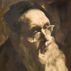 Portrait of a Rabbi, Judaica Oil Painting