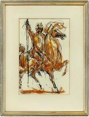 Untitled, Horse Rider, Original Ink and Watercolor