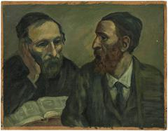 Scholars at Study, Judaica Oil Painting