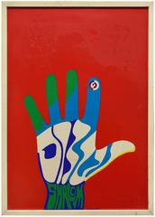 Original Vintage Modernist Poster Israeli Graphic artist Pop Art