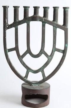 Heavy Bronze Modernist Menorah Candelabra Sculpture