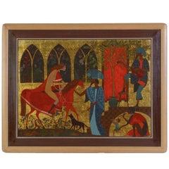 """Large Mythological Oil Painting """"The Greeting"""" Gold Leafed Israeli Masterpiece"""