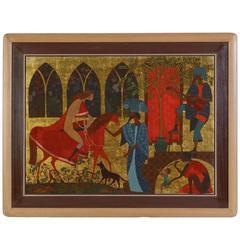 "Mythological painting ""The Greeting"" Gold Leafed Masterpiece"