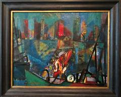Constructivist Steelworker, Rare WPA oil painting, Manhattan NYC