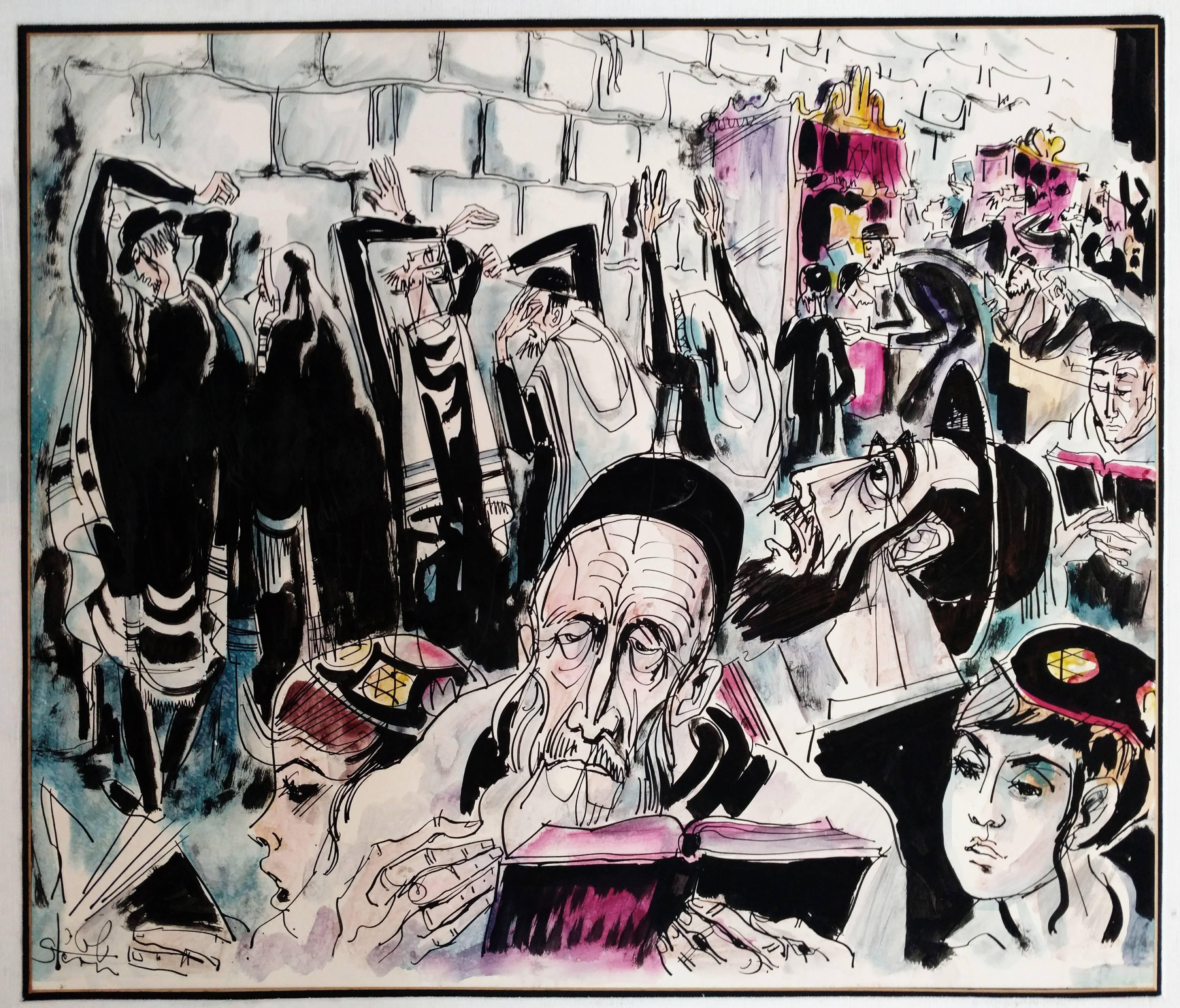 Rabbi in Prayer, Western Wall, Jerusalem Bar Mitzva Scene, Judaica