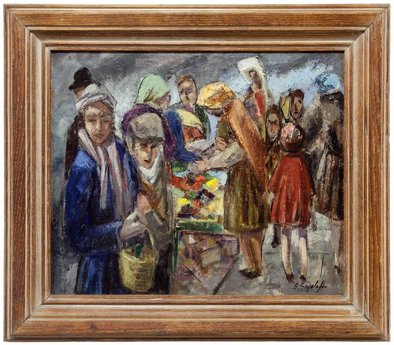 Samuel Sigaloff Figurative Painting - Jewish Peddlers on Market Day