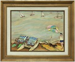 "Surrealist ""Le Parasol"" French Riviera Scene, Paddle Boats Oil Painting"