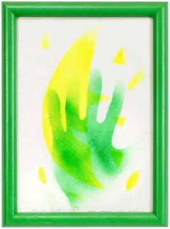 Mod Dutch Jewish Artist Untitled, Green Hand Painting