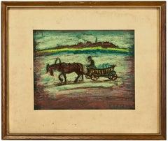 Untitled, Horse and Wagon Pastel Drawing Shtetl Judaica Scene Polish Jewish Life