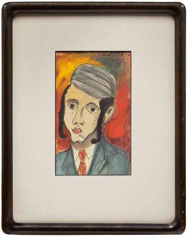 Hasidic Boy, Judaica Portrait, Ink and Watercolor