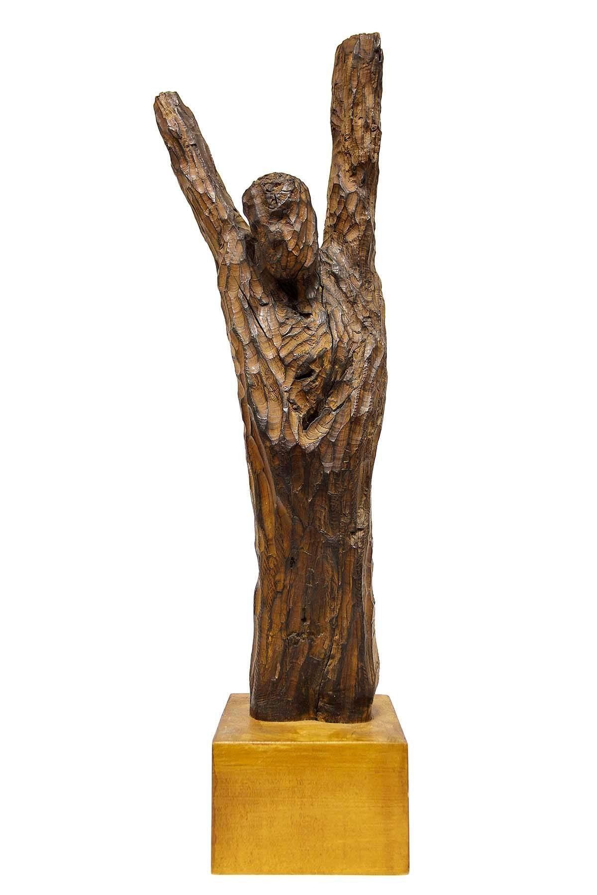 Large Modernist Carved Wood Judaica Sculpture