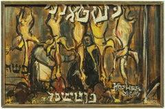 Kosher Meat, Mid-century Judaica Oil Painting