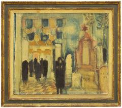 Synagogue, Mid Century Judaica Oil Painting