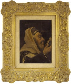 In Prayer, Early 20th Century, Rabbi Portrait Judaica Oil Painting