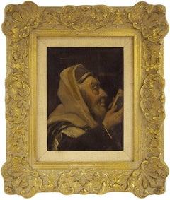 In Prayer, Early 20th Century, Rabbi Portrait Judaica Oil Painting