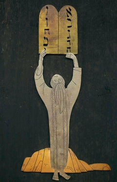 Moses with the Tablets of Law, Hebrew Calligraphy, Mexican Modernist Folk Art
