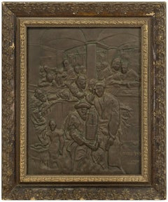 After MAURYCY GOTTLIEB, Yom Kippur Eve 19C Judaica Bronze Wall Relief