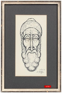 Rare Judaica Drawing Sephardic Rabbi Gentleman, Palestine