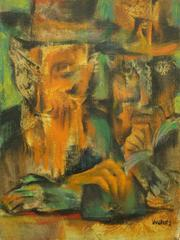 The Kabbalists, Hassidic Rabbis Judaica Colorful Modernist Painting