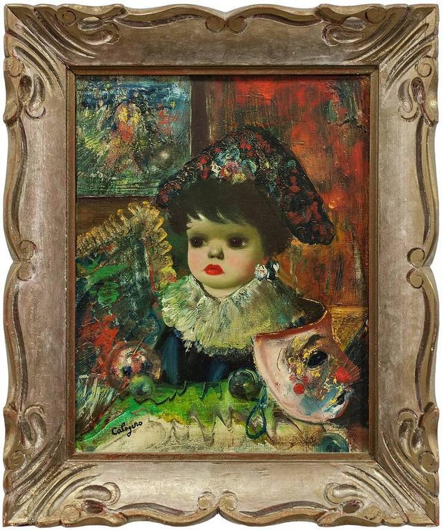 Jean Calogero Figurative Painting - L'Enfant, Colorful Surrealist Child with Venice Carnevale Masque