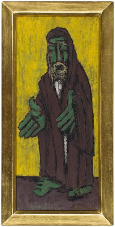 "Ben-Zion Weinman Figurative Painting - Modernist Rabbi Judaica Bold Color ""School of 10"""