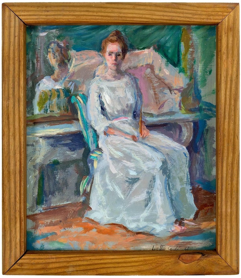 Walter D. Condit Figurative Painting - Woman Sitting For Her Portrait, Impressionist Painting