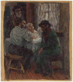 Jewish Family Interior Scene (The Shadchan) Rare Judaica Oil Painting