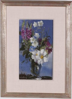 Vibrant Floral Oil Painting Vase of Spring Flowers Pierre Jerome