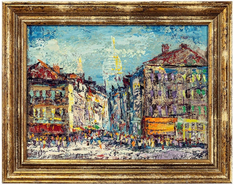 Arnoldus Oldenhave Landscape Painting - Cityscape, Impressionist Oil Painting