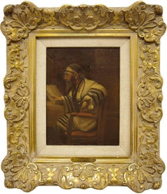 Rabbi In Prayer, Early 20th Century Oil Painting