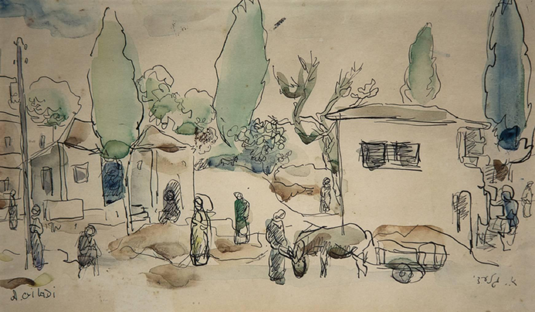 Old Yishuv, Israel, Watercolor Painting Israeli modernist Artist