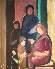 Mother and Children, Modernist Israeli Oil Painting
