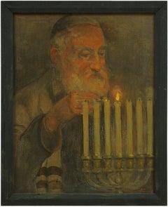 Early 20th C. Grandfather Lighting Menorah Judaica Holiday Painting